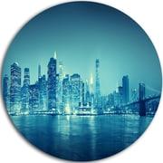 DesignArt 'Blue New York at Night' Graphic Art Print on Metal; 11'' H x 11'' W x 1'' D