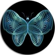 DesignArt 'Light Blue Fractal Butterfly in Dark' Graphic Art Print on Metal; 11'' H x 11'' W x 1'' D