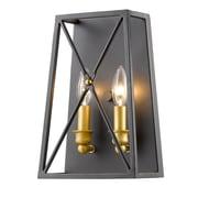 17 Stories Tolya 2-Light Flush Mount; Bronze Gold