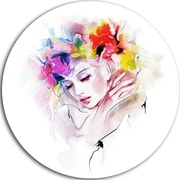 DesignArt 'Girl w/ Flowers Wreath' Oil Painting Print on Metal; 11'' H x 11'' W x 1'' D
