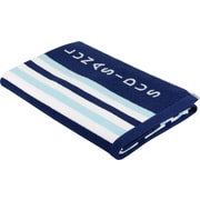 Lunasidus Luxury Stripe Beach Towel; Navy Blue - Light Blue