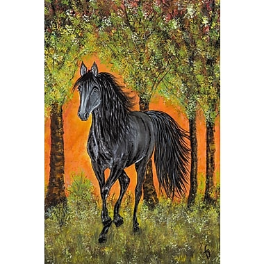 Marmont Hill ''Bluejean Friesian Horse'' Painting Print on Wrapped Canvas; 36'' H x 24'' W x 1.5'' D