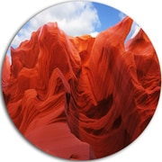 DesignArt 'Red and Orange Shade in Antelope Canyon' Photographic Print on Metal