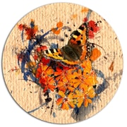 DesignArt Butterfly and Abstract Art on Paper Oil Painting Print on Metal; 11'' H x 11'' W x 1'' D