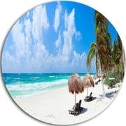 DesignArt Seashore Landscape Disc 'Bright Caribbean Beach' Photographic Print on Metal