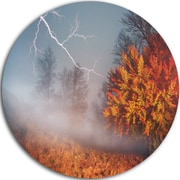 DesignArt 'Lighting in Yellow Autumn Forest' Photographic Print on Metal; 11'' H x 11'' W x 1'' D