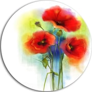 DesignArt 'Bunch of Bright Red Poppy Flowers' Flower Large Oil Painting Print on Metal