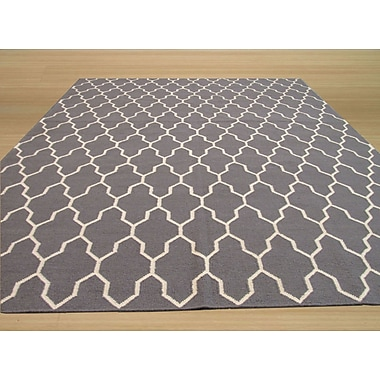 Eastern Rugs Hand Knotted Gray Area Rug; Rectangle 5'6'' x 8'
