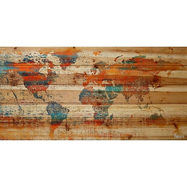 Marmont Hill 'Warm World' Painting Print on Natural Pine Wood; 30'' H x 60'' W x 1.5'' D