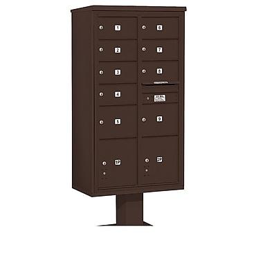 Salsbury Industries 9 Door Front Load 4C Horizontal Cluster Box Unit w/ 2 Parcel Lockers; Bronze