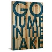 Marmont Hill 'Go Jump Blue' Textual Art on Natural Pine Wood; 45'' H x 30'' W x 1.5'' D