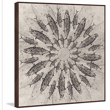 Marmont Hill 'Concentric Fish' Floater Framed Painting Print on Canvas; 24'' H x 24'' W x 1.5'' D