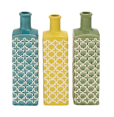 Cole & Grey Ceramic Stripe 3 Piece Table Vase Set (Set of 3); 15'' H x 4'' W x 4'' D WYF078278969389