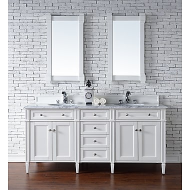 Darby Home Co Deleon Traditional 72'' Double Cottage White Wood Base Bathroom Vanity Set; 2cm