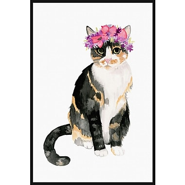 Marmont Hill 'Pretty Kitty' by Dena Cooper Floater Framed Painting Print on Canvas