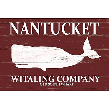 Marmont Hill 'Nantucket Witaling Company' Textual Art on Wrapped Canvas; 12'' H x 18'' W x 1.5'' D