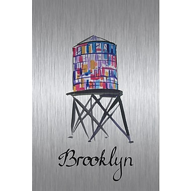 Marmont Hill 'Brooklyn Water Tower' Watercolor Painting Print on Metal; 60'' H x 40'' W x 1.5'' D