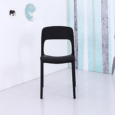 Container Plastic Side Chair (Set of 4); Black