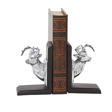 Cole & Grey Polystone Deer Bookends (Set of 2); Silver and Black