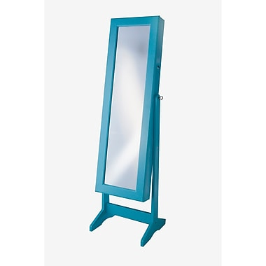 InnerSpace Luxury Products Cheval Jewelry Armoire w/ Mirror; Turquoise