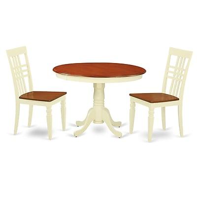 East West Hartland 3 Piece Dining Set; Buttermilk/Cherry