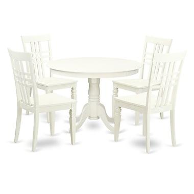 East West Hartland 5 Piece Dining Set; Linen White