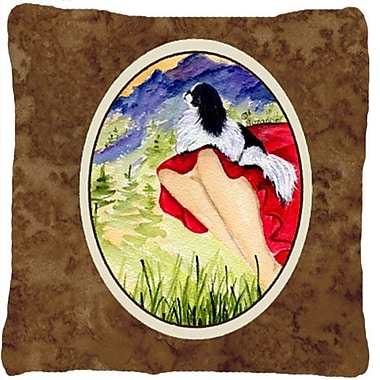 Caroline's Treasures Lady w/ Her Japanese Chin Indoor/Outdoor Throw Pillow