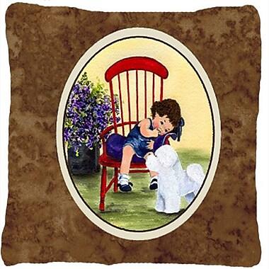 Caroline's Treasures Little Girl w/ Her Bichon Frise Indoor/Outdoor Throw Pillow