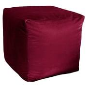 R&MIndustries Majestic Plush Cube Pouf Ottoman; Burgundy