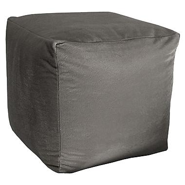 R&MIndustries Majestic Plush Cube Pouf Ottoman; Gray