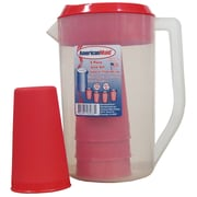 American Maid Plastic 5 Piece Juice 64 Oz. Pitcher Set; Red