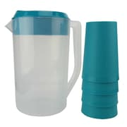 American Maid Plastic 5 Piece Juice 64 Oz. Pitcher Set; Blue