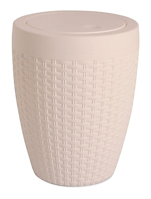 Superior Performance Plastic 1.63 Gallon Swing Top Trash Can; Beige
