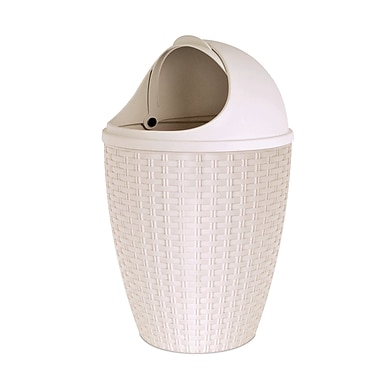 Superior Performance Plastic 1.88 Gallon Swing Top Trash Can; Beige
