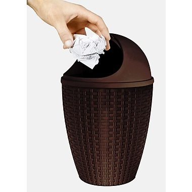 Superior Performance Plastic 1.88 Gallon Swing Top Trash Can; Brown