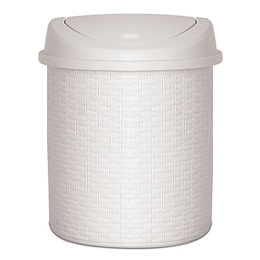 Superior Performance Plastic 5.5 Gallon Swing Top Trash Can; Beige