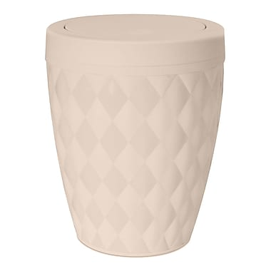 Superior Performance 1.63 Gallon Swing-Top Plastic Trash Can; Beige