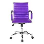 Winport Industries Winport Mid-Back Leather Desk Chair; Purple