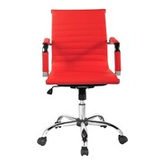Winport Industries Winport Mid-Back Leather Desk Chair; Red