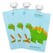 Sage Spoonfuls Dinosaur Sage Squeezie 7 Oz. Reusable Food Pouch (Set of 3)