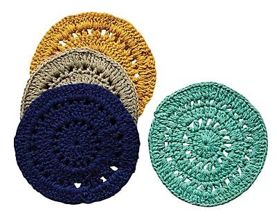 Creative Co-Op Casual Country Round Cotton Crocheted Coaster (Set of 4); Navy/Teal/Taupe WYF078279960667