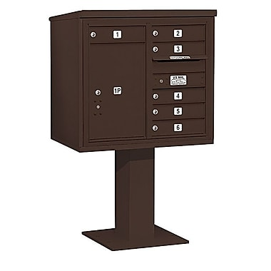 Salsbury Industries 6 Door Front Load 4C Horizontal Cluster Box Unit w/ 1 Parcel Locker; Bronze