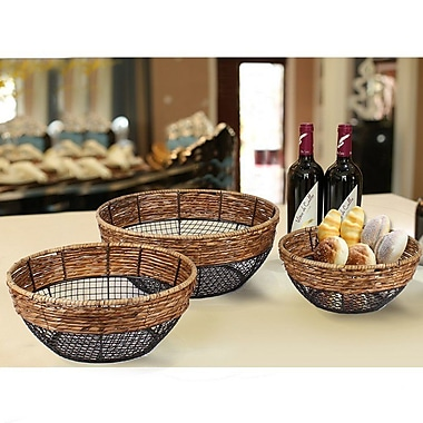 AdecoTrading 3 Piece Iron Wire Round Wide-Mouth Basket w/ Mesh Body