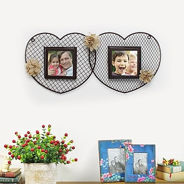 AdecoTrading Decorative Iron Double Heart Picture Frame