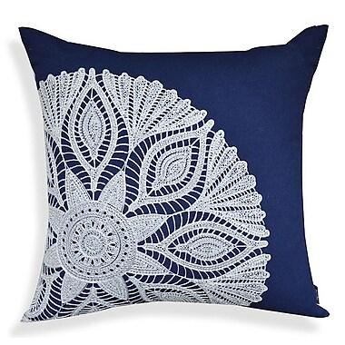 A1 Home Collections LLC Crewel Embroidery 100pct Cotton Throw Pillow; Indigo