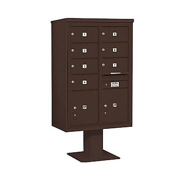 Salsbury Industries 7 Door Front Load 4C Horizontal Cluster Box Unit w/ 2 Parcel Lockers; Bronze