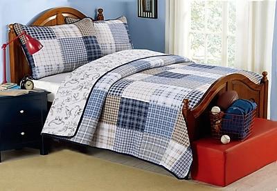 Cozy Line Home Fashion Benjamin Cotton Reversible Quilt Set; Twin