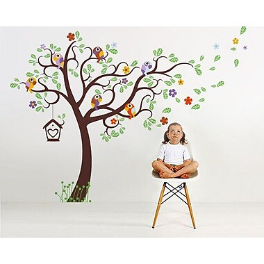 Pop Decors Nursery Tree w/ Colorful Parrots Wall Decal; Dark Brown