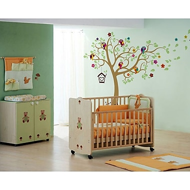 Pop Decors Nursery Tree w/ Colorful Parrots Wall Decal; Light Brown