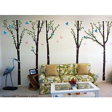 Pop Decors Tree Forest w/ Birds and Butterflies Wall Decal; Dark Brown/Blue